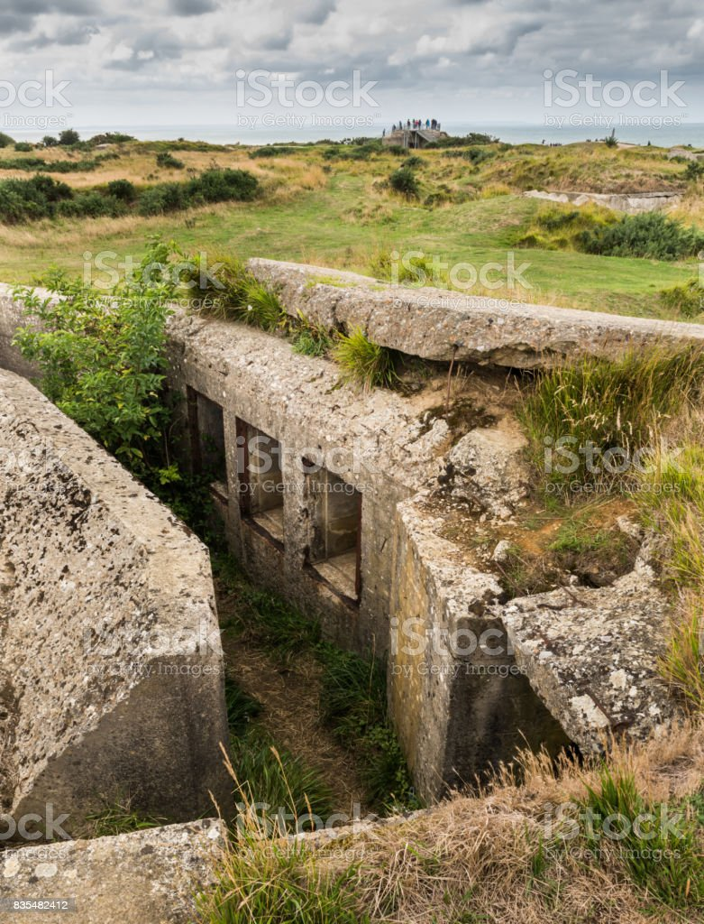 Concrete bunker Pointe Du Hoc stock photo