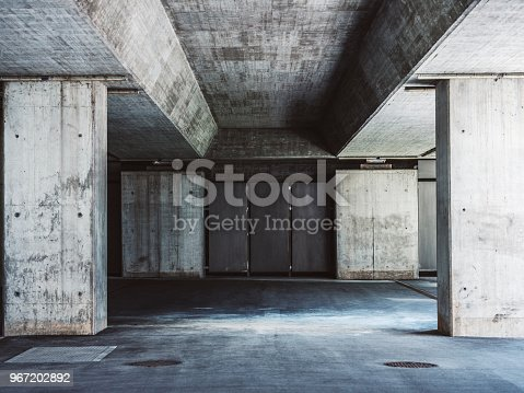 Concrete city street bridge foundation.