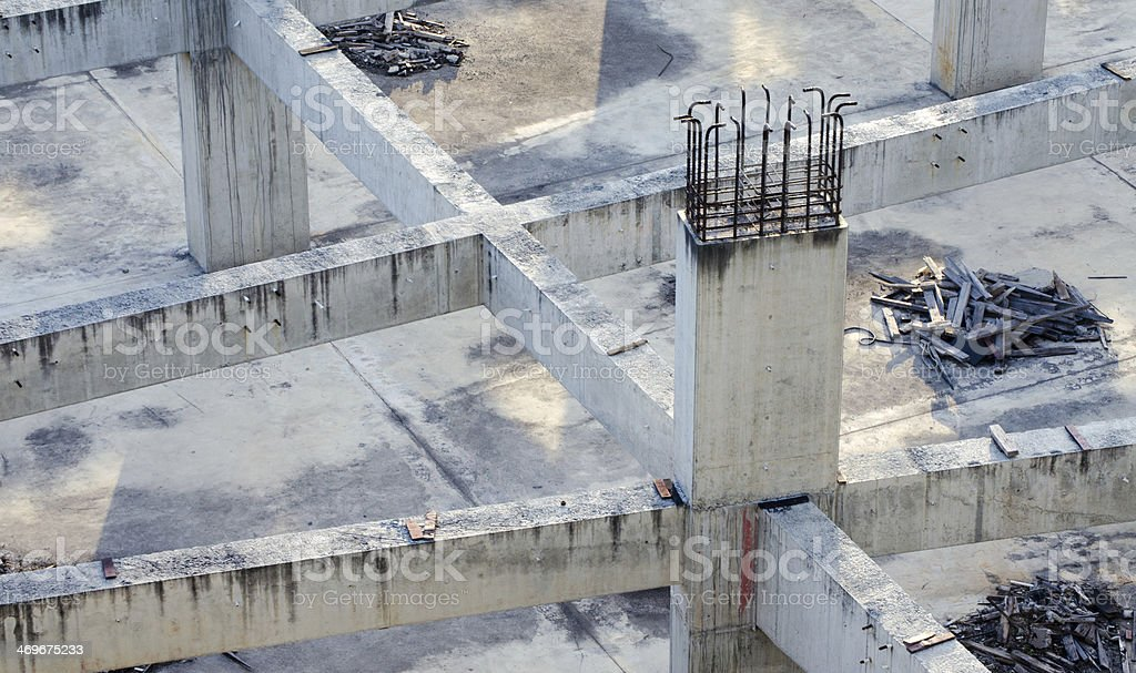 Concrete column with reinforcing steel, construction site. royalty-free stock photo