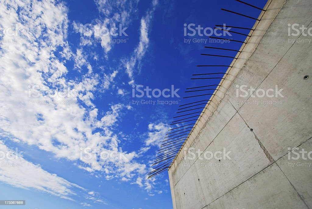 Concrete construction for bottom of bridge royalty-free stock photo
