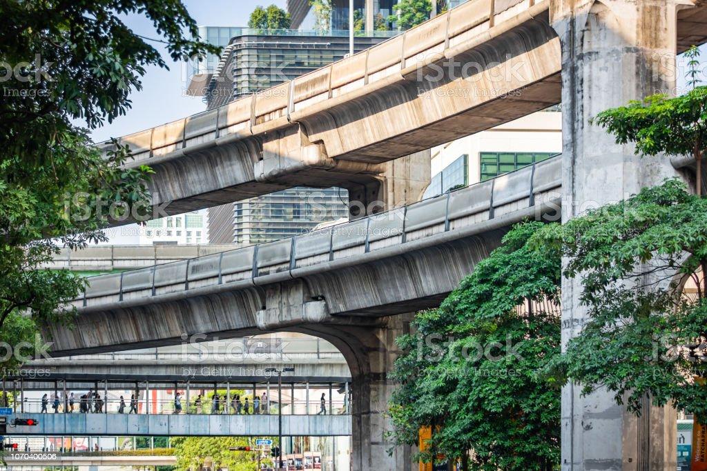Concrete construction of the skyline train way in Bangkok, Thailand – zdjęcie
