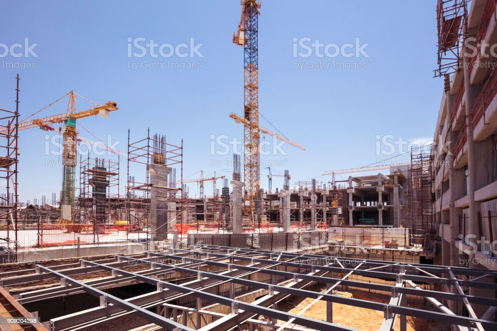 Concrete construction upgrade of a Shopping Mall stock photo