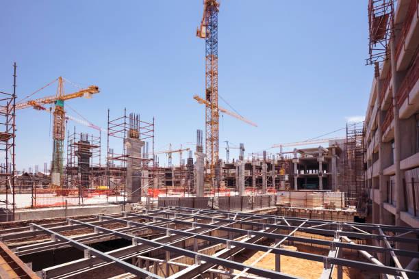 Concrete construction upgrade of a Shopping Mall stock photo