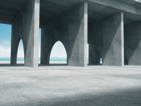 Concrete corridor,Abstract structure,Product showcase background with The sea background.3D rendering