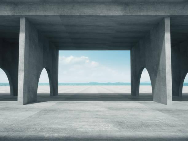 混凝土廊道, 抽象結構, 產品展示背景與海洋背景。 - 大廈樓層 個照片及圖片檔