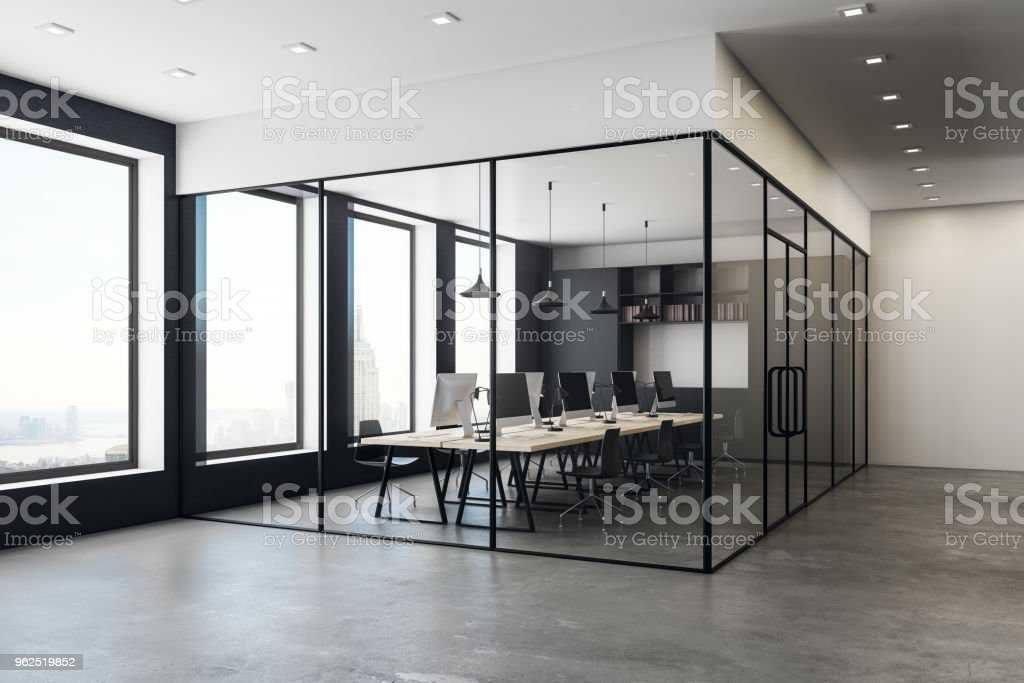 Concrete coworking office interior - Royalty-free Apartment Stock Photo