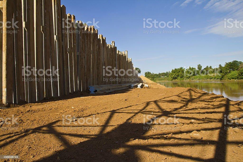 concrete dam and shadow crane royalty-free stock photo