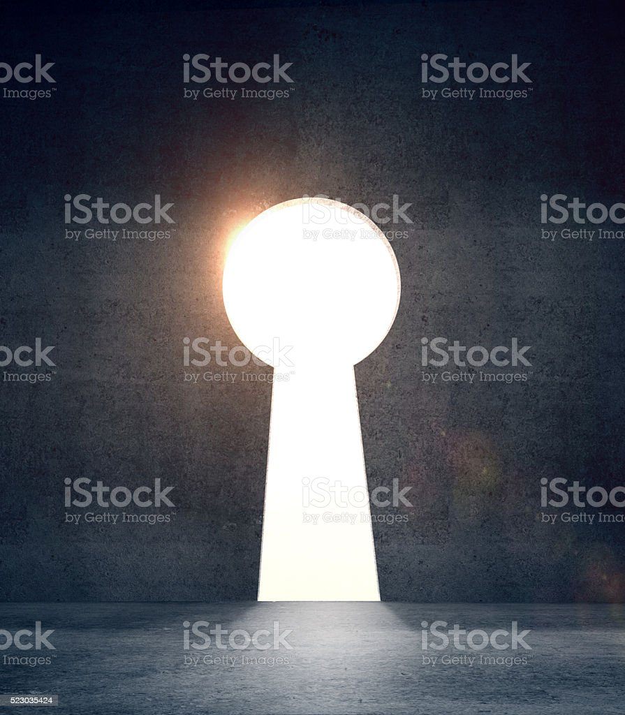 concrete door in form keyhole stock photo