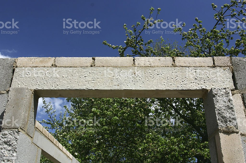 concrete door lintel stock photo