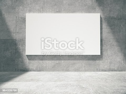 644237470istockphoto concrete empty room with empty frame.3D rendering. 964339766