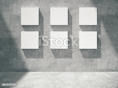 644237470istockphoto concrete empty room with empty frame.3D rendering. 964340250