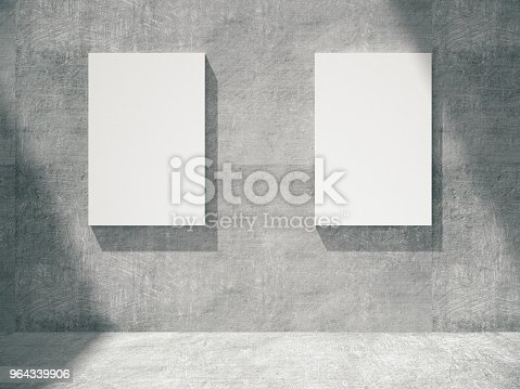 644237470istockphoto concrete empty room with empty frames.3D rendering. 964339906