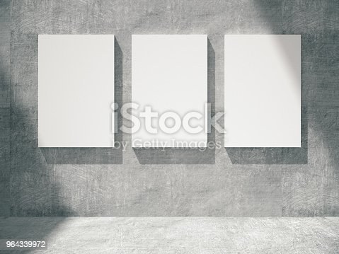 644237470istockphoto concrete empty room with empty frames.3D rendering. 964339972