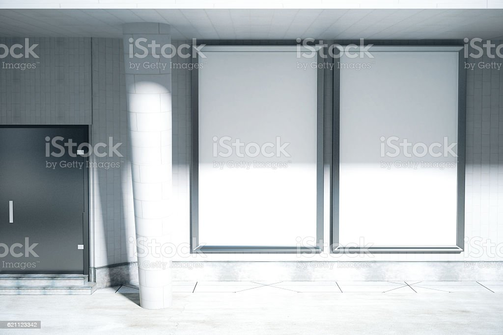 Concrete exterior with ad posters stock photo