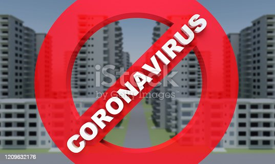 istock concrete faceless multi-storey building with prohibition sign text coronavirus 1209632176