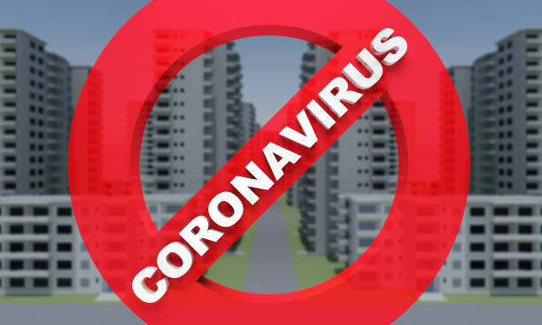 concrete faceless multi-storey building with prohibition sign text coronavirus stock photo