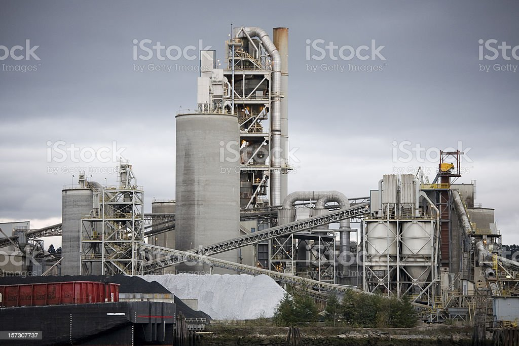 Concrete factory or cement heavy industry manufacturing stock photo