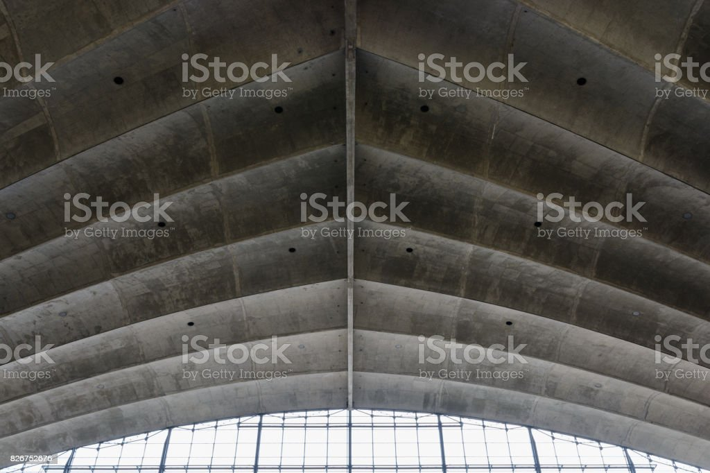 Concrete fishbone or leaf design background with window stock photo