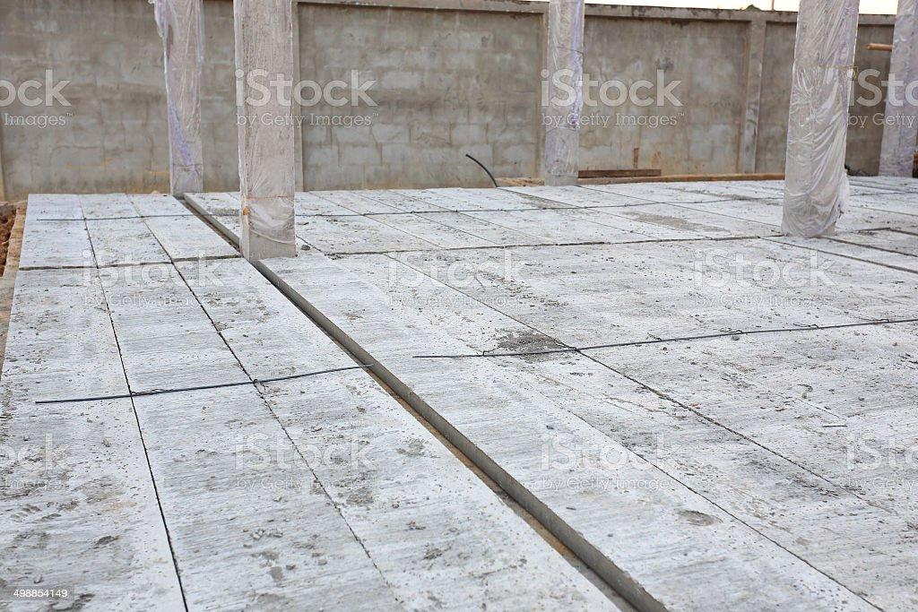 concrete floor slab panel in building construction site stock photo