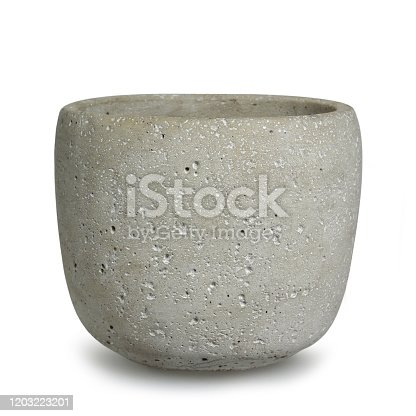 Concrete flower planter isolated on white background