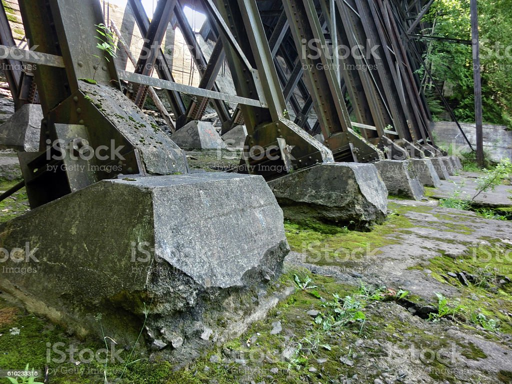 Concrete footings on steel bridge girder supports stock photo