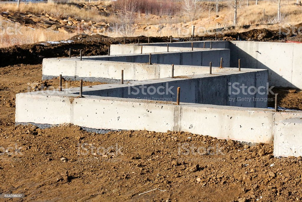 Concrete Foundation in a Zig Zag pattern stock photo