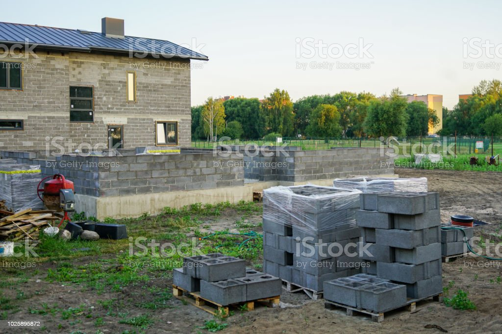 Concrete Foundation Of A New House Wall Construction Stock