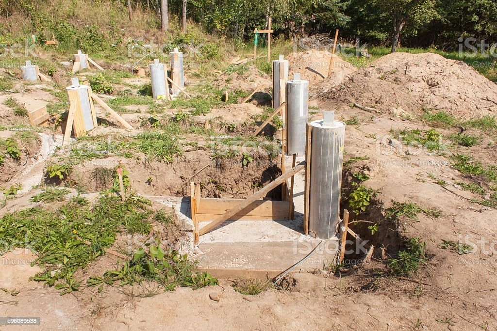 Concrete foundations of the house. royalty-free stock photo