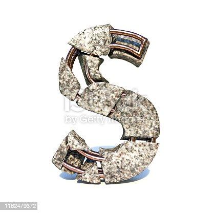 istock Concrete fracture font Letter S 3D 1182479372