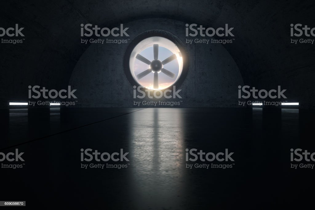 Concrete garage with ventilation system stock photo
