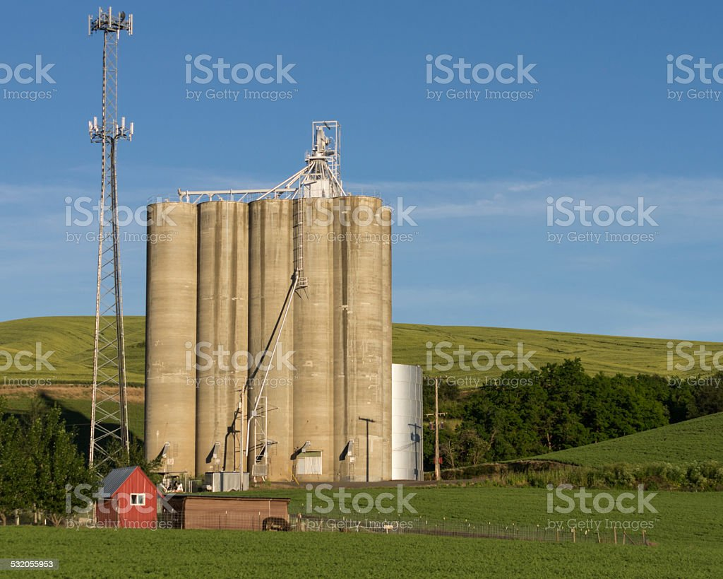 Concrete grain silos with cell phone tower stock photo