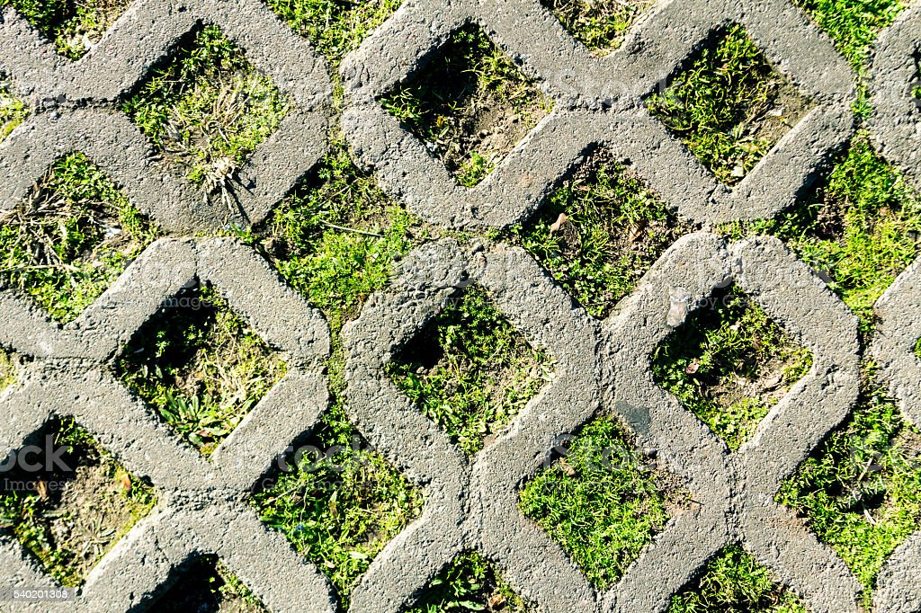 Concrete grid on rhombus shape with grass stock photo