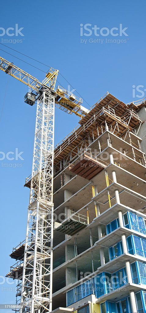 Concrete highrise construction site from the ground up royalty-free stock photo