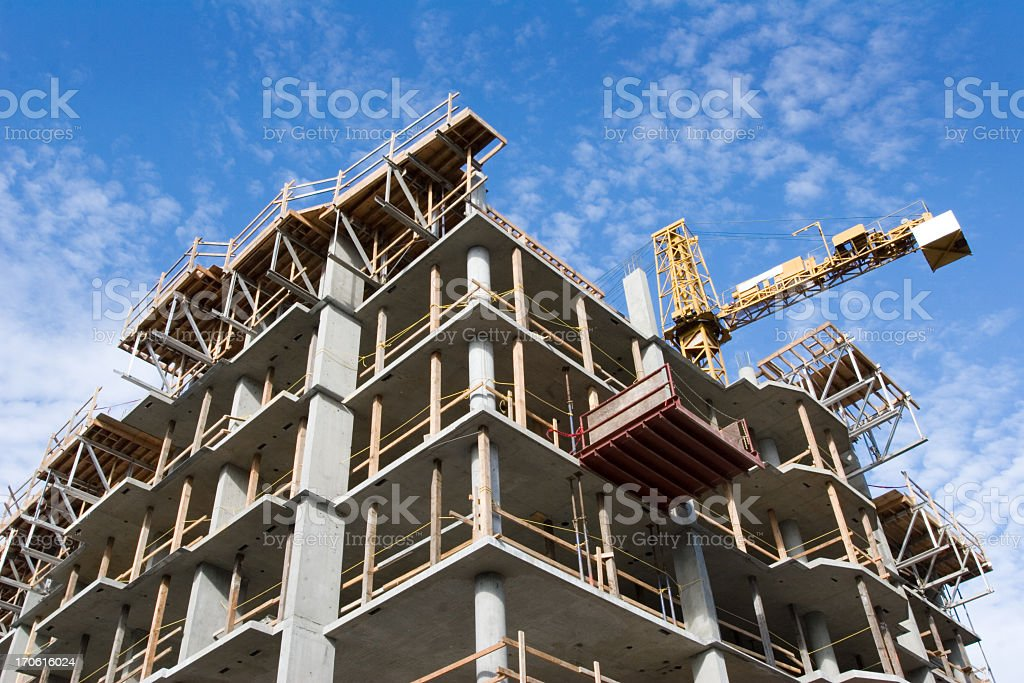 Concrete Highrise Construction Site - Royalty-free Apartment Stock Photo