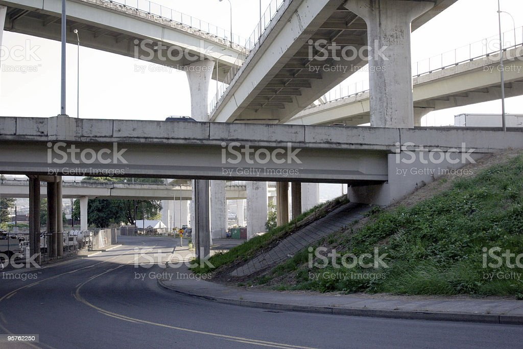 Concrete Highway Underpass in Portland Oregon royalty-free stock photo