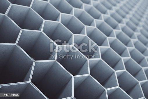 1003112152 istock photo Concrete honeycomb, hexagon pattern background or wallpaper. 3D Rendering 626198364