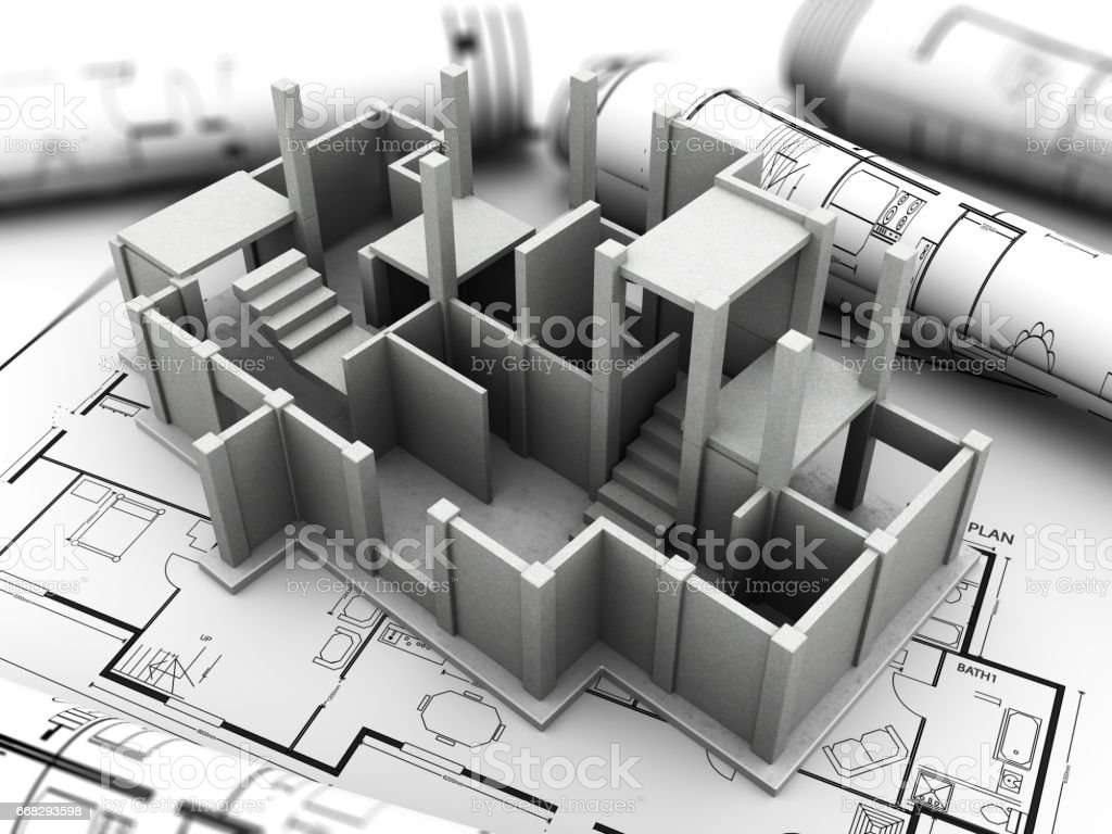 concrete house building stock photo