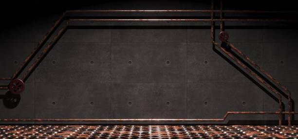 konkreten industriellen raum mit rostigem metall-gitter mesh boden und rohre - betonwerkstein stock-fotos und bilder