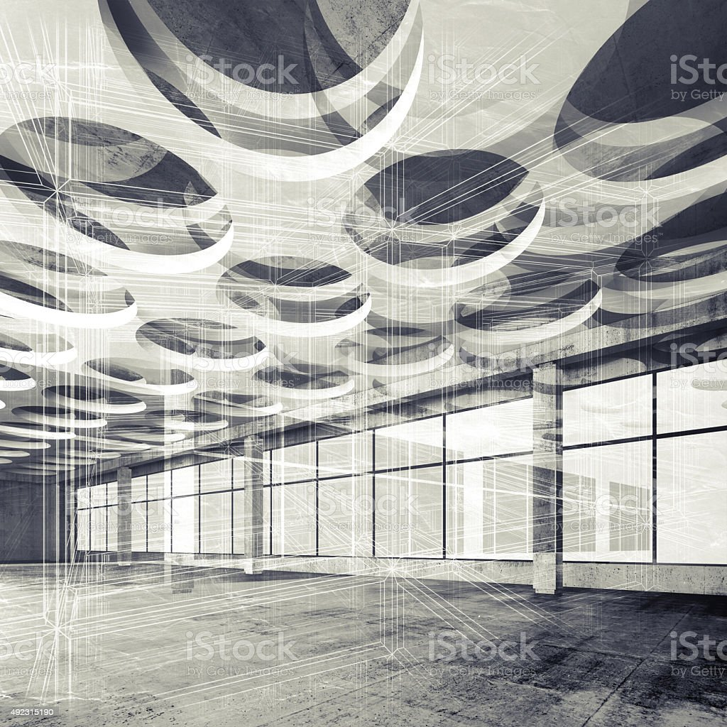 Concrete interior and wire-frame lines, 3d illustration stock photo