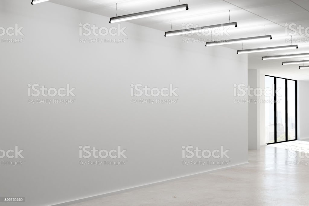 Concrete interior with empty wall stock photo