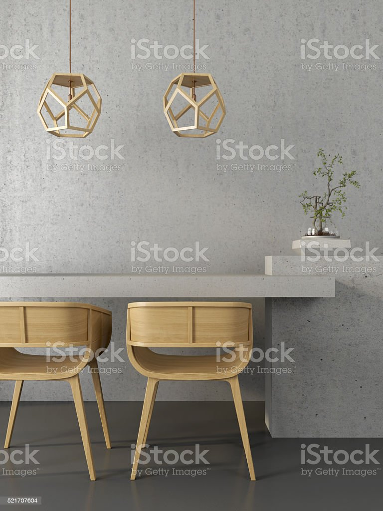 Concrete interior  with wooden chairs stock photo