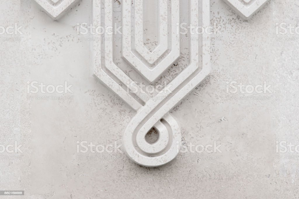 Concrete islamic pattern on the stone wall, surface with gray detail stock photo