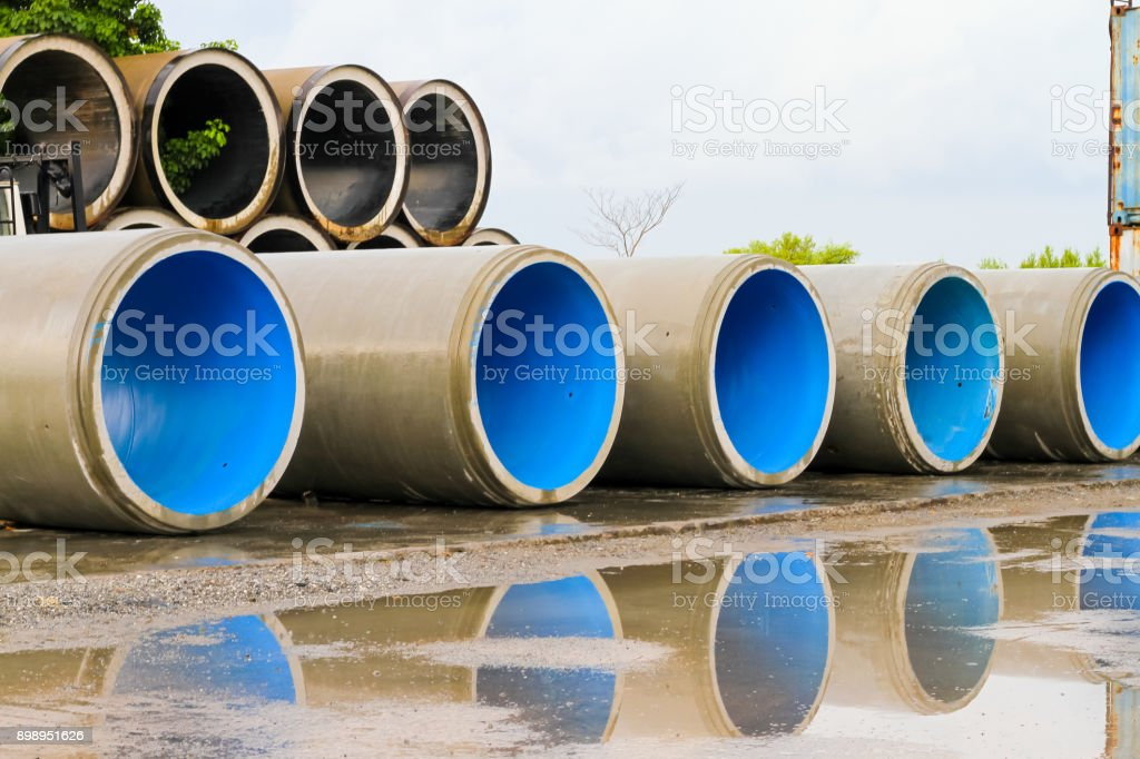 Concrete Jacking Pipe waiting for transportation stock photo