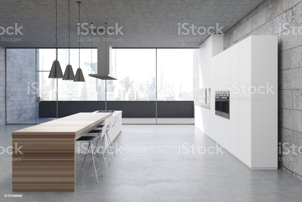 Black Tulip Dining Table, Concrete Kitchen Interior White Cabinets Side Stock Photo Download Image Now Istock
