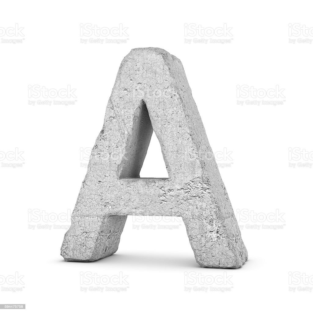 Concrete letter A isolated on white background stock photo