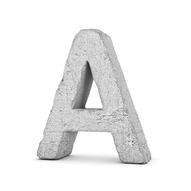 concrete letter a isolated on white background - stone font stock photos and pictures