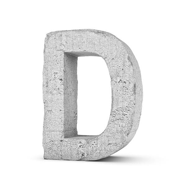 concrete letter d isolated on white background - stone font stock photos and pictures