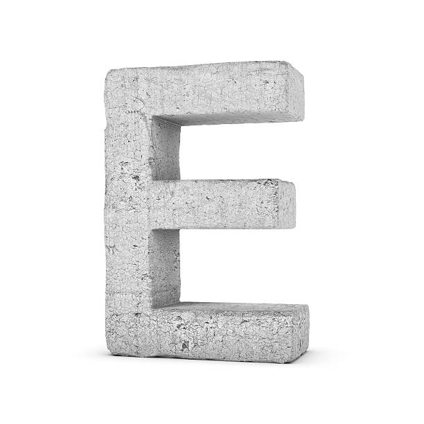 concrete letter e isolated on white background - stone font stock photos and pictures