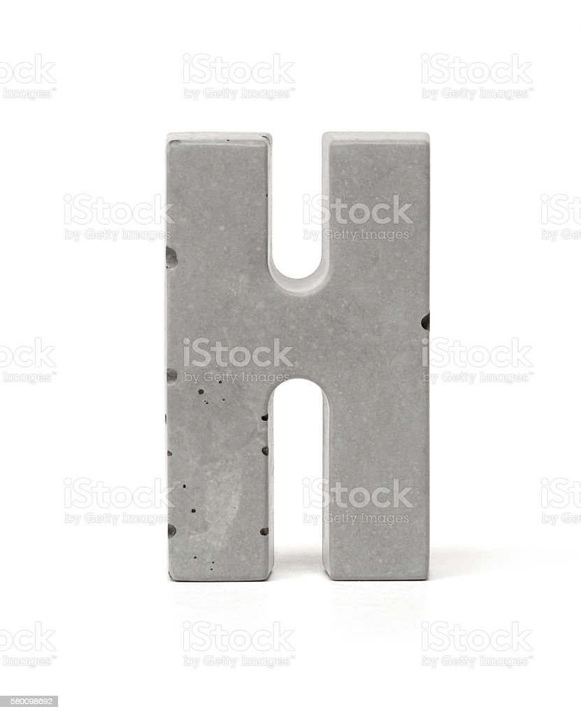 Concrete Letter H stock photo