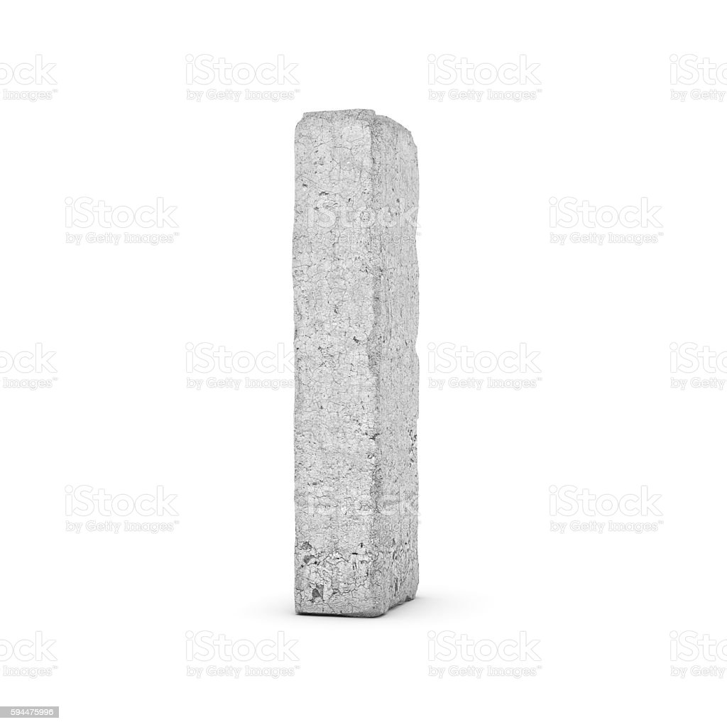 Concrete letter I isolated on white background stock photo